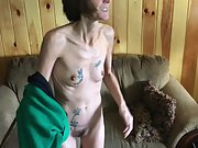 Thin tattooed wifey with hairy pussy unclothing