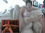 Mature exhibitionist couple frolicking