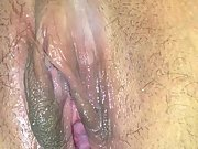 Rubbing wet and swollen vag while husband is gone